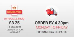 Order by 4.30pm Mon-Fri for same day despatch with Postage options from only £3.25