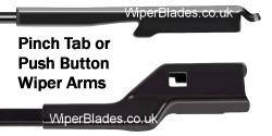 New Pinch Tab - Push Button Wiper Arms