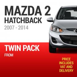 Wiper Blades to Fit a Mazda 2 Hatchback 2007 - 2014 Models - Front Screen Twin Pack From only £12.80 Including Delivery