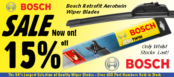 15% off Bosch Retrofit Aerotwin Windscreen Wiper Blades - Whilst Stocks Last