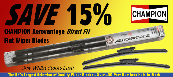 15% off Champion Aerovantage Direct Fit Flat Wiper Blades