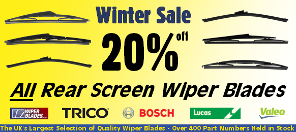 Save 20% on over 100 Rear Screen Wiper Blades - All Held in Stock