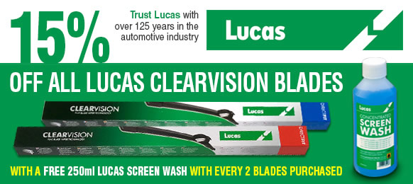 15% off Lucas Clearvision Wiper Blades and FREE 250ml Lucas Screen Wash with every 2 Clearvision Blades Purchased