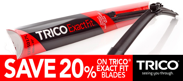 New Year Sale - Save 20% on All Trico Exactfit Front Screen Wipers