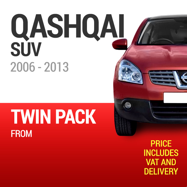 Wiper Blades to Fit a Nissan Qashqai 2006 - 2013 Year Models - Front Screen Twin Pack From only £18.60 Including Delivery