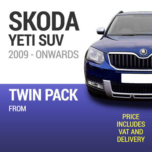 Wiper Blades to Fit a Skoda Yeti 2009 Onwards Models - Front Screen Twin Pack From only £19.36 Including Delivery
