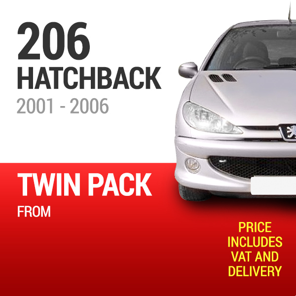 Wiper Blades to Fit a Peugeot 206 Hatchback 2001 - 2006 Models - Front Screen Twin Pack From only £13.15 Including Delivery