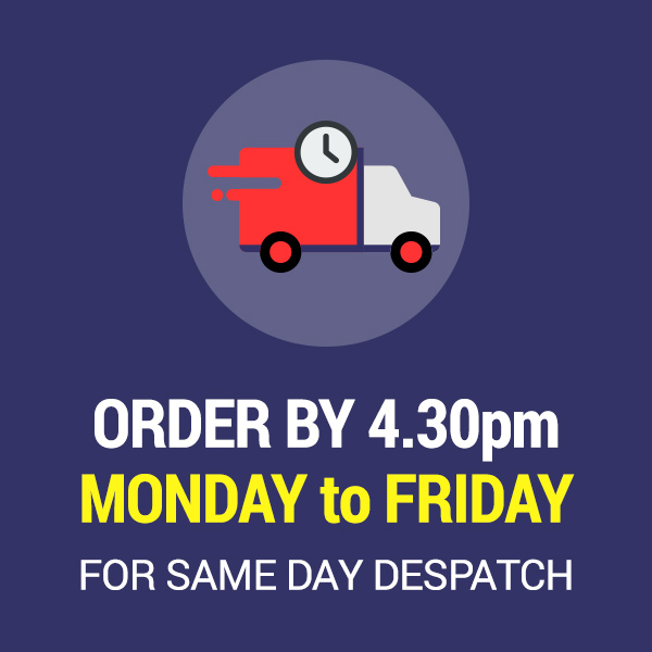 Order by 4.30pm Monday to Friday and we'll despatch your order the same day