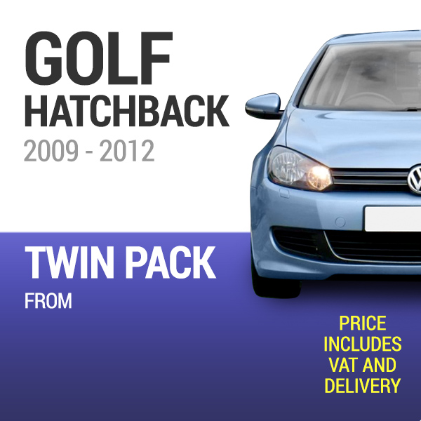 Wiper Blades to Fit a VW Golf Hatchback 2009 - 2012 Models - Front Screen Twin Pack From only £18.40 Including Delivery