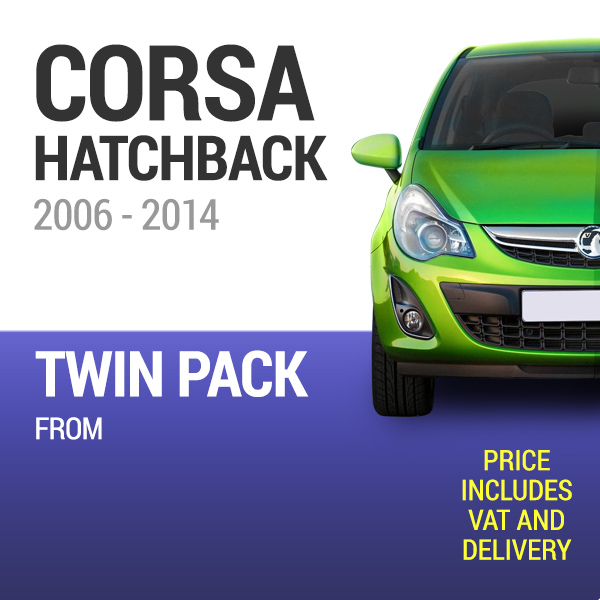 Wiper Blades to Fit a Vauxhall Corsa 2006 - 2014 Models - Front Screen Twin Pack From only £19.74 Including Delivery